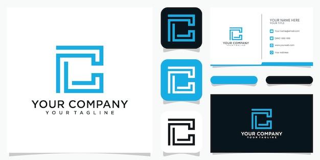 Creatieve letter c logo ontwerp pictogrammalplaatje en visitekaartje Premium Vector