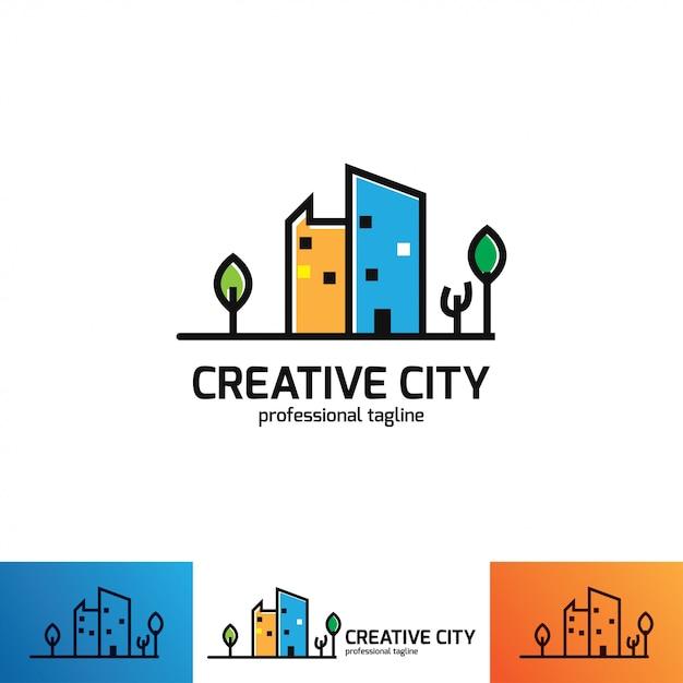Creatieve logo ontwerpsjabloon. ontwerp met kleurrijk logo. Premium Vector