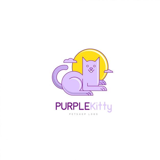 Creatieve moderne kat logo vector in cartoon stijl voor pet shop company Premium Vector
