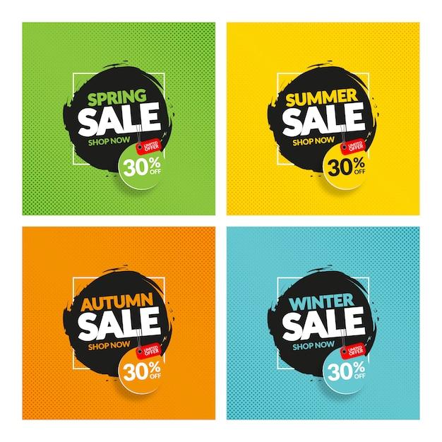 Creatieve moderne kleurrijke seizoen verkoop banners Premium Vector