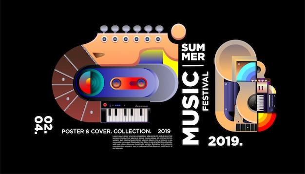 Creatieve muziekfestival poster sjabloon Premium Vector