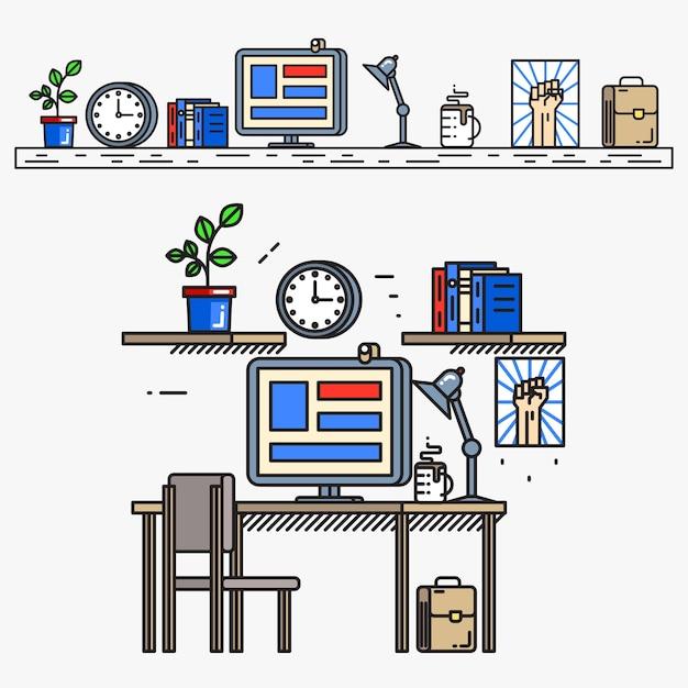 Creatieve ontwerper werkruimte in dunne lijn vlakke stijl. zakelijke werkplek, werk en bureau, desktop en tafel, beeldscherm en boek, Gratis Vector