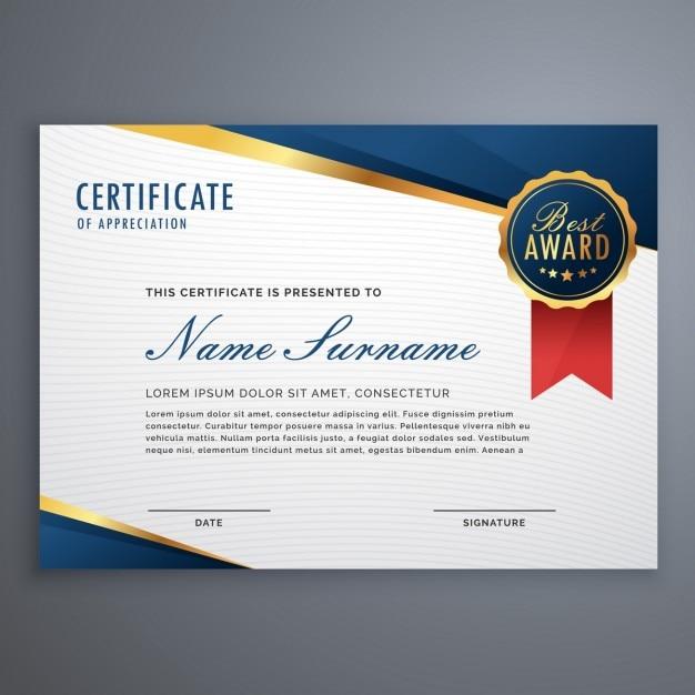 creatieve oorkonde award sjabloon met blauwe en gouden vormen en badge Gratis Vector