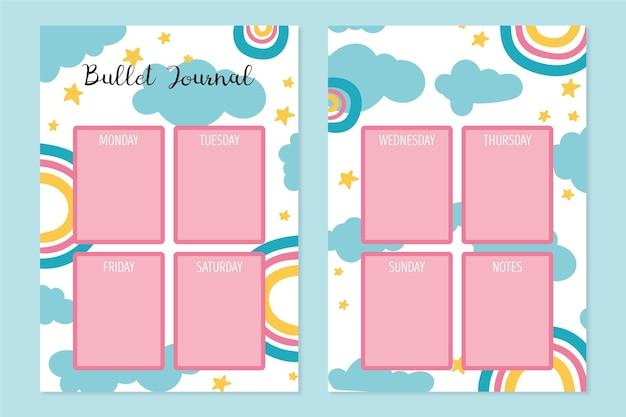 Creatieve opsommingsteken dagboek planner sjabloon Gratis Vector