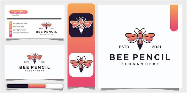 Creatieve potloodillustratie van bijenlogo Premium Vector