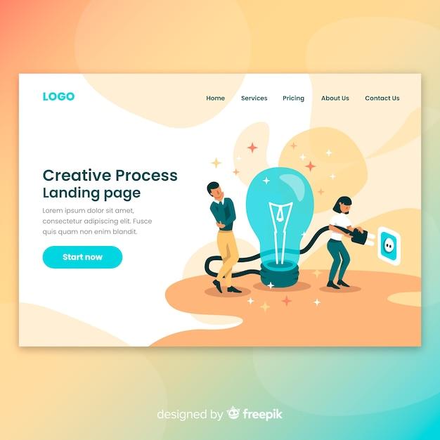 Creatieve proces-bestemmingspagina Gratis Vector