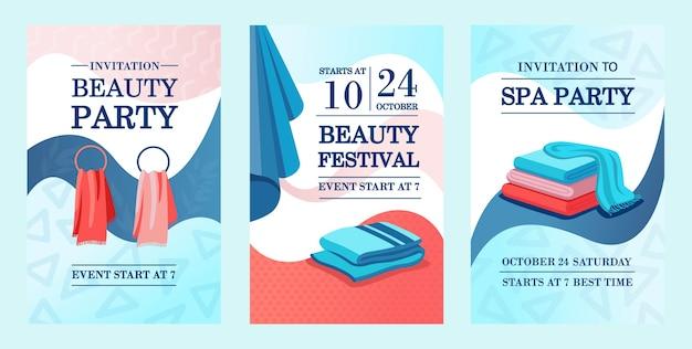 Creatieve promotionele uitnodigingsontwerpen met handdoeken. promotie-uitnodiging voor schoonheidsfestival met tekst. spa- en ontspanningsconcept. sjabloon voor folder, banner of flyer Gratis Vector