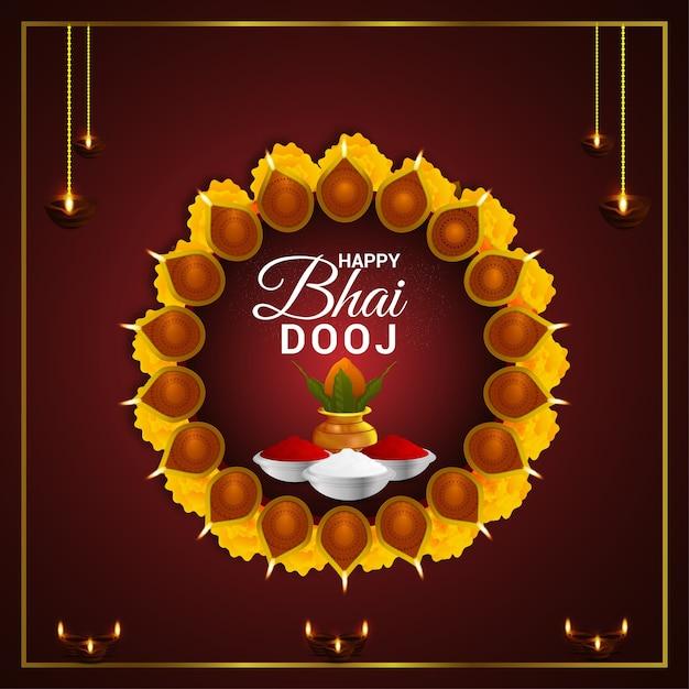 Creatieve puja thali met kalash. gelukkige bhai dooj viering achtergrond Premium Vector