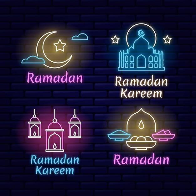 Creatieve ramadan belettering neon teken set Gratis Vector