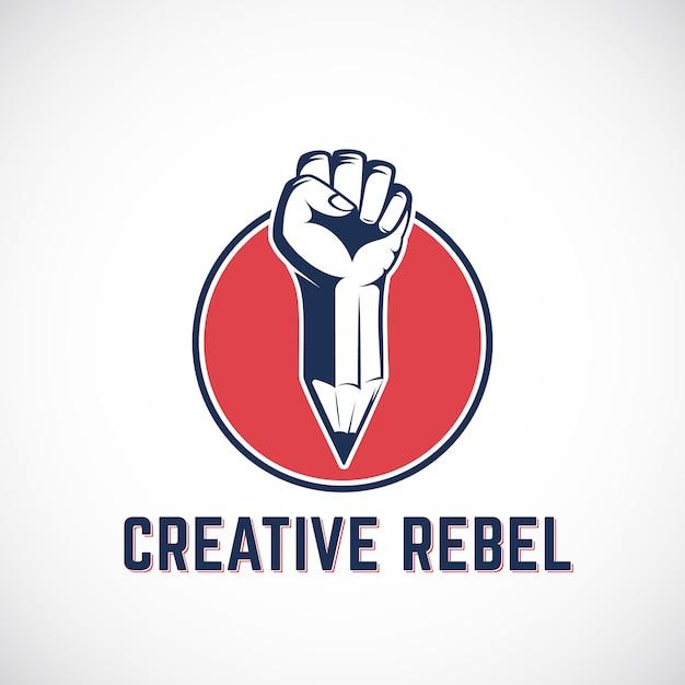 Creatieve rebel abstracte teken, symbool, pictogram of logo sjabloon. revolution fist gemengd met een potloodconcept in rode cirkel. gestileerde riot hand. Premium Vector