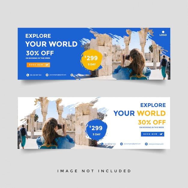 Creatieve reizen banner sjabloon collectie Premium Vector