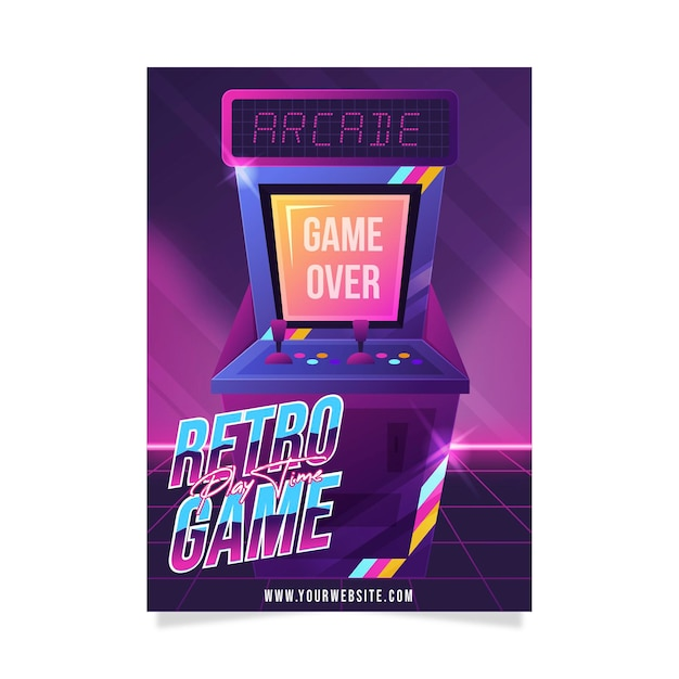 Creatieve retro gaming poster sjabloon Gratis Vector