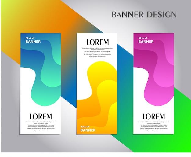 Creatieve roll up banner set Premium Vector