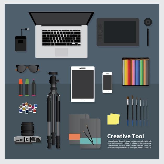 Creatieve tool werkruimte geïsoleerde vectorillustratie Premium Vector