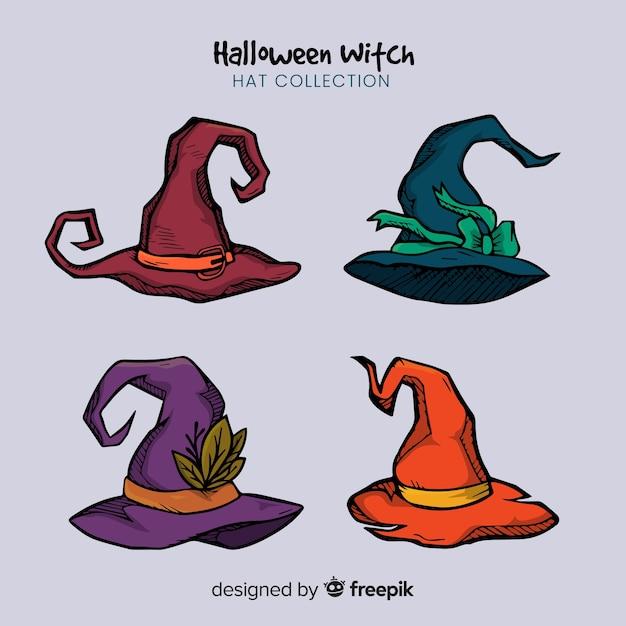 Creatieve verzameling van halloween heks hoeden Gratis Vector