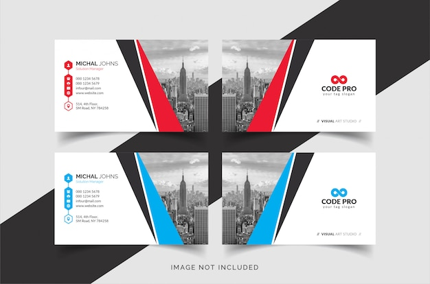 Creatieve visitekaartjes met stad Premium Vector
