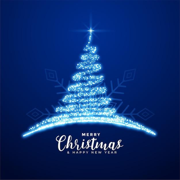 Creatieve vrolijke kerst sprankelende blauwe boom achtergrond Gratis Vector