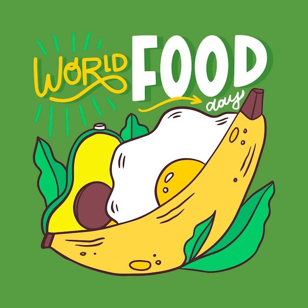 Creatieve wereldvoedseldag belettering met geïllustreerde gezonde maaltijd Gratis Vector