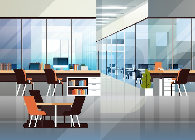 Creatieve werkplaats van het coworkingbureau de binnenlandse moderne centrum Premium Vector