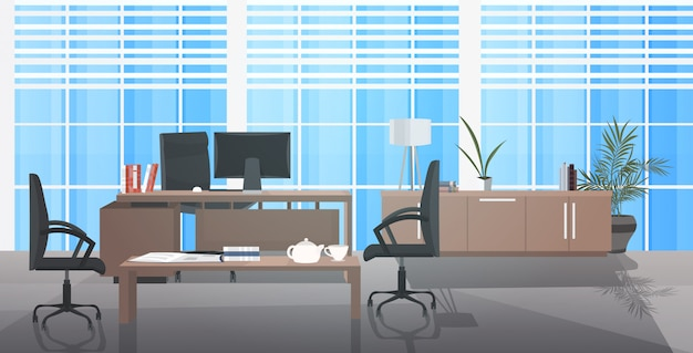 Creatieve werkplek leeg geen mensen kast met meubels modern kantoor interieur horizontaal Premium Vector