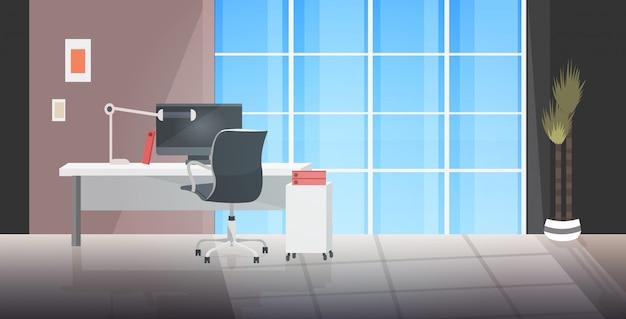 Creatieve werkplek leeg geen mensenkast met meubels modern kantoorinterieur Premium Vector