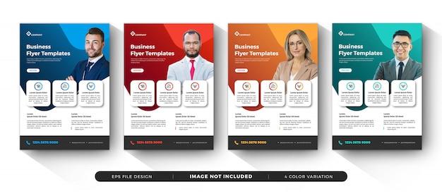 Creatieve zakelijke flyer-sjablonen variatiekleur Premium Vector