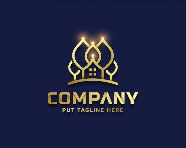 Creatieve zakelijke gouden boomhut logo collectie Premium Vector