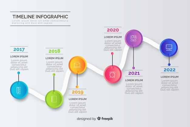 Creatieve zakelijke jaarlijkse tijdlijn infografic Gratis Vector