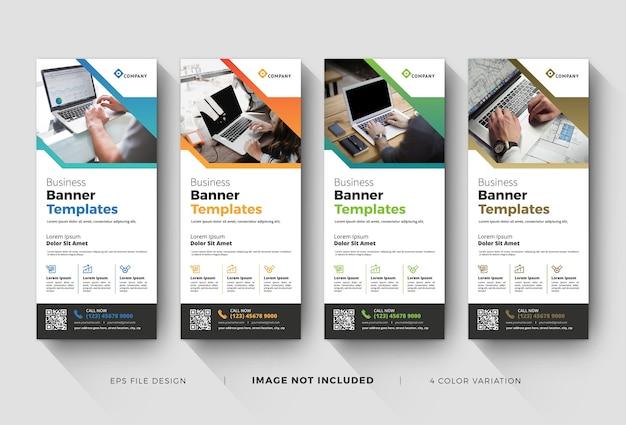 Creatieve zakelijke roll-upbannersjablonen Premium Vector