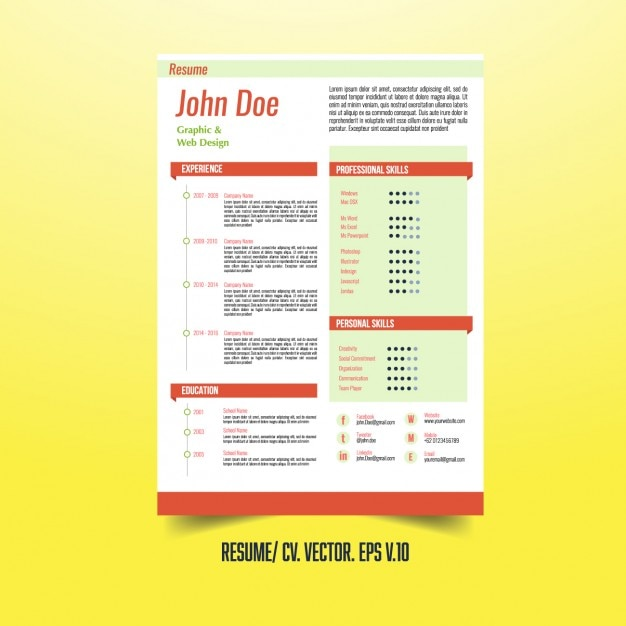 Creative CV sjabloon met infographic elementen Vector | Gratis