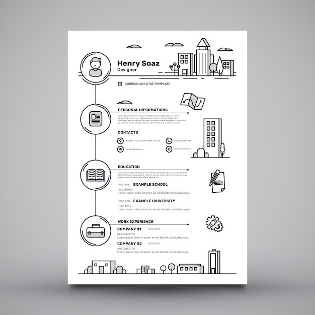 Creative cv template Gratis Vector