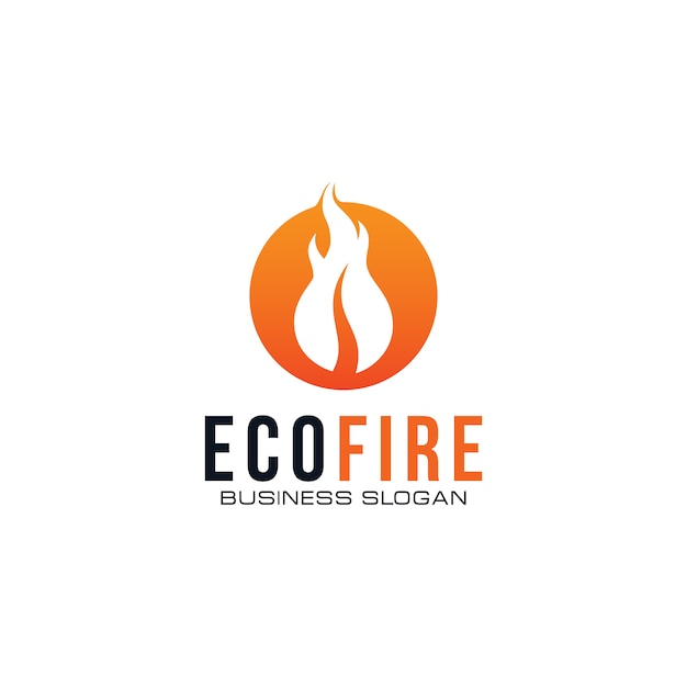 Creative eco fire-logo Premium Vector