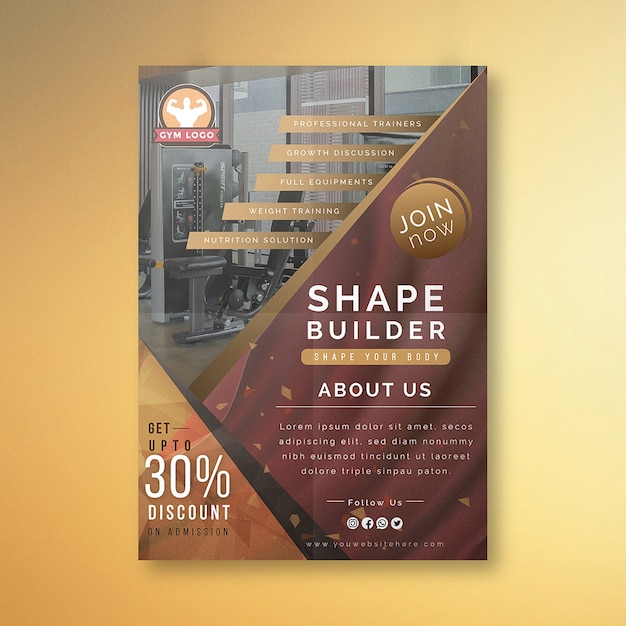 Creative gym flyer design Premium Vector