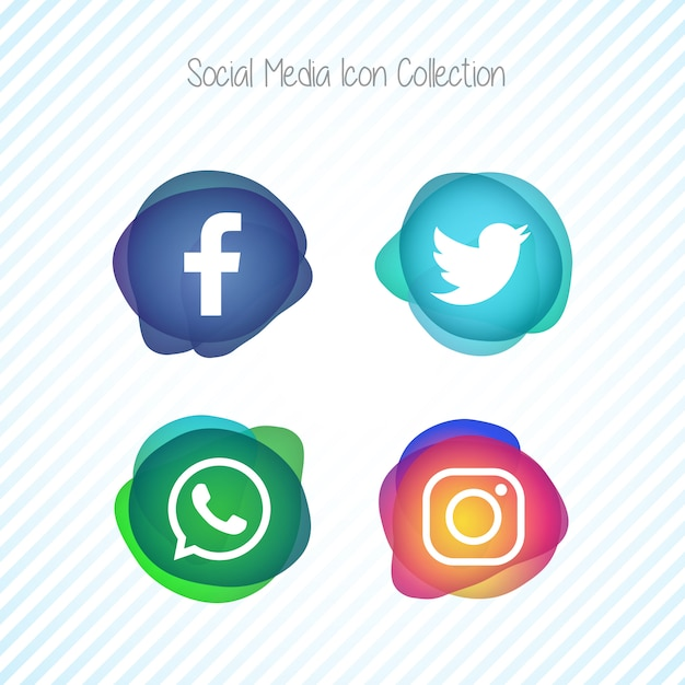 Creative memephis fluid social media icons set Gratis Vector