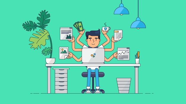 Creative tech workspace Premium Vector