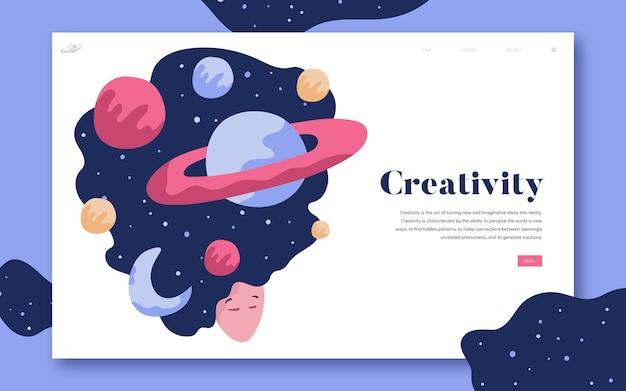 Creativiteit en grafische ruimte-website Gratis Vector