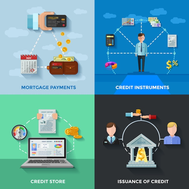 Credit rating card set Gratis Vector