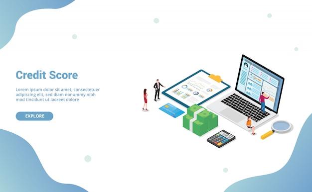 Credit score met team mensen analyse persoonlijke financiële controle met isometrisch Premium Vector