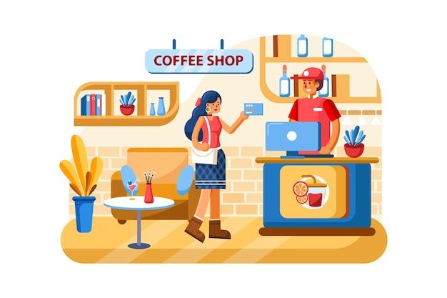 Creditcard betalingssysteem in coffeeshop Premium Vector