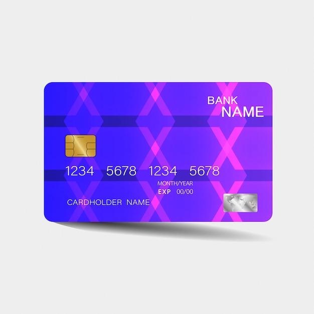 Creditcard sjabloon met paarse elementen Premium Vector