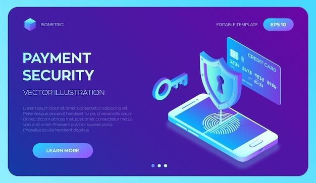 Creditcardcontrole en software toegangsgegevens als vertrouwelijk. veilige betalingen. bescherming van persoonlijke gegevens. 3d isometrisch. Premium Vector
