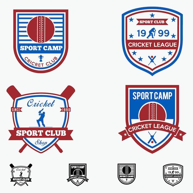 Cricket badges Premium Vector