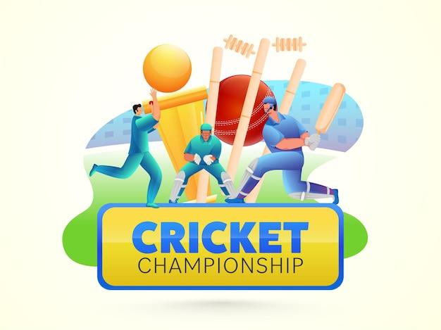 Cricket championship concept met spelers stripfiguur en gouden trofee cup op gele achtergrond. Premium Vector