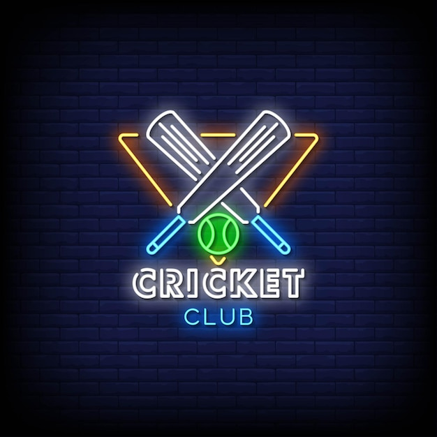 Cricket club neon signs style text Premium Vector