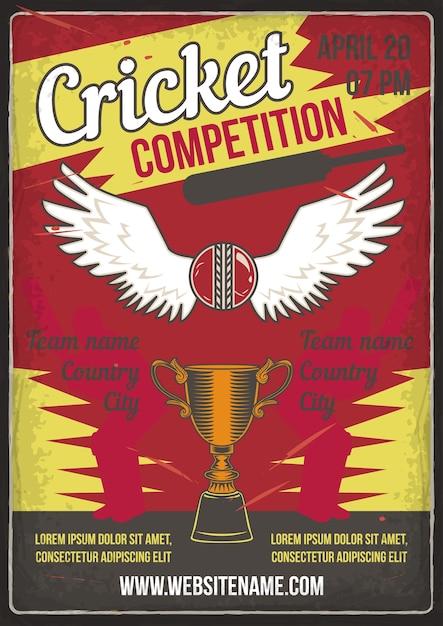 Cricket competitie Gratis Vector