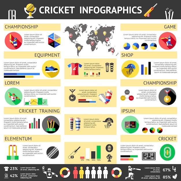 Cricket gekleurde infographics Gratis Vector