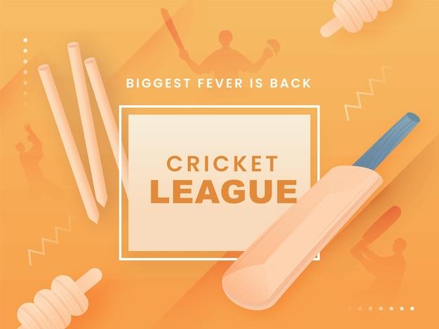 Cricket league biggest fever is back-tekst met realistische vleermuis-, wicketstronk- en silhouetspelers op lichtoranje achtergrond. Premium Vector