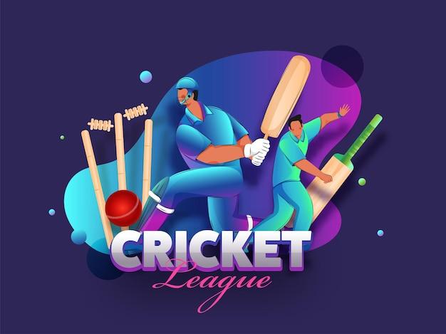 Cricket league concept met cartoon cricketer spelers en realistische apparatuur op een violette achtergrond met kleurovergang. Premium Vector