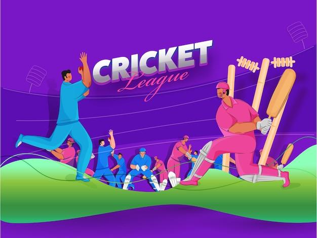 Cricket league posterontwerp met spelers stripfiguur op paarse en groene achtergrond. Premium Vector