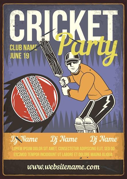 Cricket partij Gratis Vector